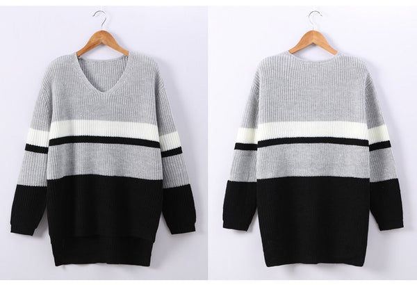 Garemay Sweater Women Winter Long Sleeve V-Neck Striped Pullover Knitwear Loose Knitted Sweater Female Jumpers Sueter Mujer