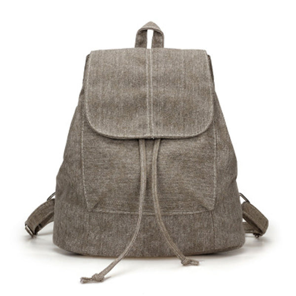 New Canvas Women Backpack Drawstring School Bags For Teenagers Girls Small Backpack Female Rucksack