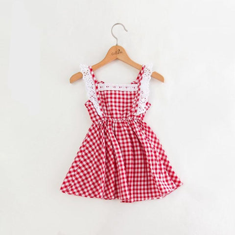 Summer New Children Clothing Girls Lace Fly Sleeve Gingham Dress Sweet Baby Fashion Kids Clothes