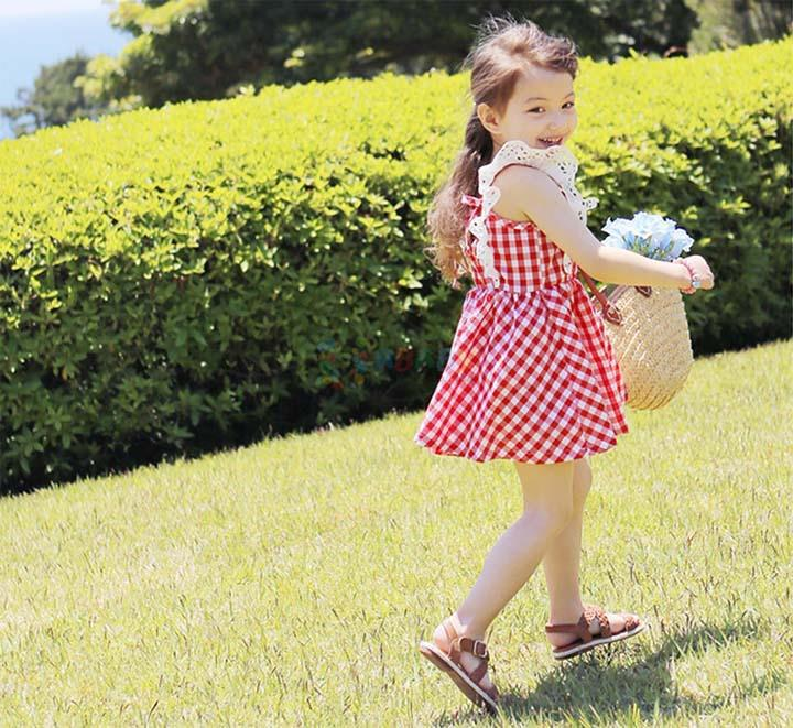 bcb80407f8729 Summer New Korean Children Clothing Girls Lace Fly Sleeve Gingham Dress  Sweet Baby Fashion Kids Clothes