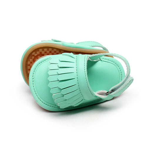New Summer infant sandals Multicolor Hot sale Pu leather Baby moccasins child Double Tassel Rubber sole Baby sandals