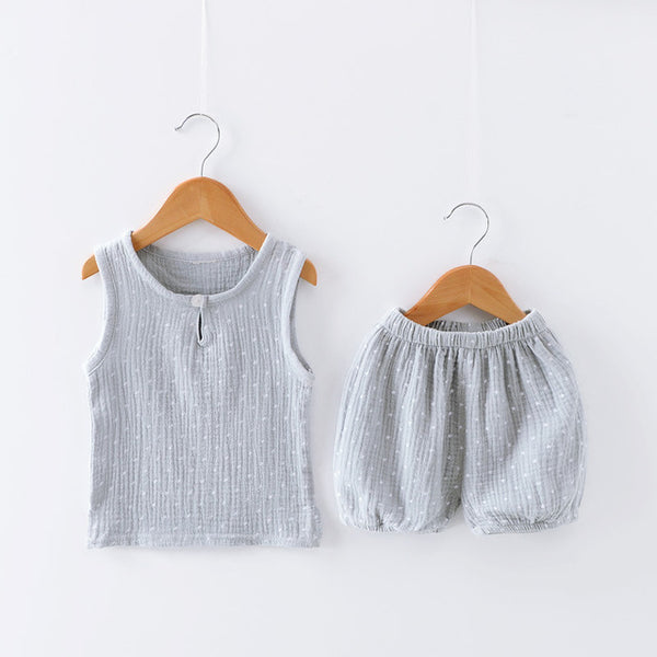Baby Boys Girls Clothes Cotton Linen Sleeveless Vest Shorts 2 Pcs Suit Children Sets Kids Clothing Kids Bobo Toddler Sets 0-5T