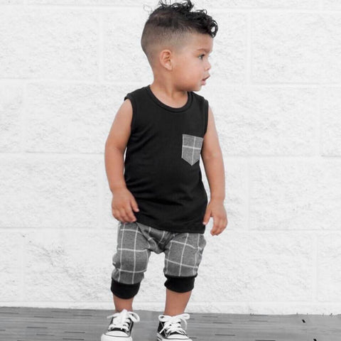 Popular Children's Set Infant Toddler Baby Boys Girl Clothing Plaid Tops T Shirt Vest Shorts Outfits Clothes Set Costume Clothes