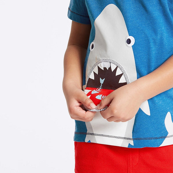 1-6Years Shark Embroidery Two-Piece Toddler Boy Clothing Set Children's Boutique Outfits Summer Kit For Boys Kids