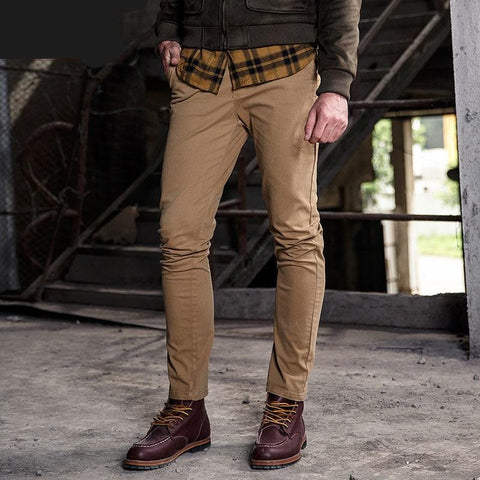 Fashion Casual Trousers Men Cargo Pants 100% Cotton Casual Slim Fit Cotton Mens Pants Solid Color