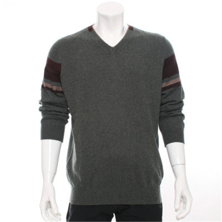 high quality 100%goat cashmere v-neck knit men fashion patchwork sleeve pullover sweater H-straight dark grey 2color S/2XL