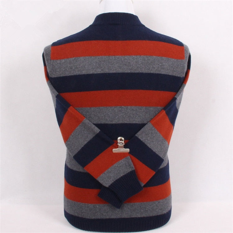 100%goat cashmere patchwork color striped knit men fashion thick loose pullover sweater half-high zipper collar S/4XL