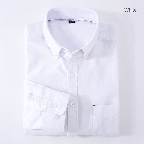 Men Casual Shirt Long Sleeve 100% Cotton Oxford Shirt Men Business Mens Dress Shirts Male Social Clothes Chemise