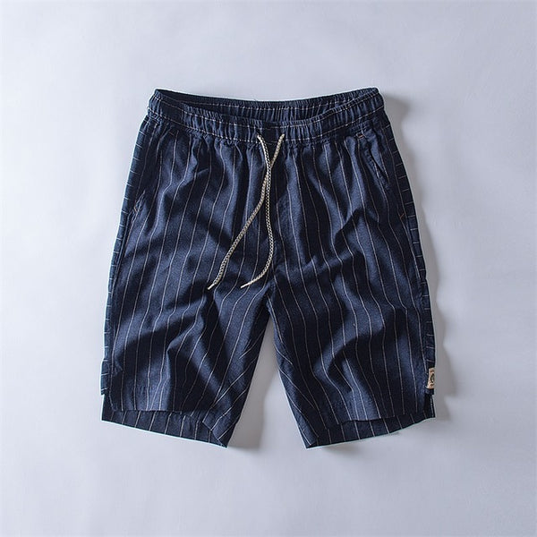 New arrival Striped shorts men summer fashion trend 100% cotton linen shorts knee lenght straight elastic male shorts 1833