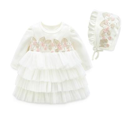 spring Princess Baby Clothing for newborn Dresses + cap infant girl costume wedding baby girl clothing Vestidos