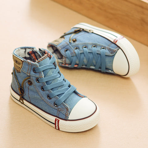 Autumn Expert Skill Children Casual Shoes Boys Girls Sport Shoes Breathable Denim Sneakers Kids Canvas Shoes Baby Boots