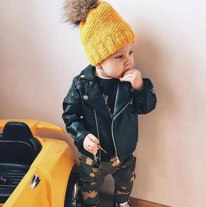 Boys jacket Spring Autumn children's Motorcycle leather 1-7 years old fashion color diamond quilted zipper girls coat cool