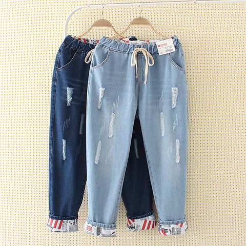 Two Wear Cuffs Jeans For Women Plus Size XL-5XL Summer Style New Hole Flexible Ankle-Length Pants Elastic Waist Jeans