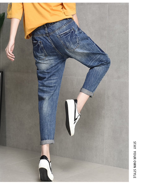 Boyfriend Jeans For Women Spring Summer Vintage High Waist Jeans Denim Washed Ankle-Length Pants Woman Jeans