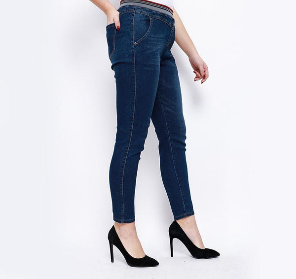 Women Stretch skinny Full Length pencil jeans pants high waist lace up large size Trousers Female Casual Trousers