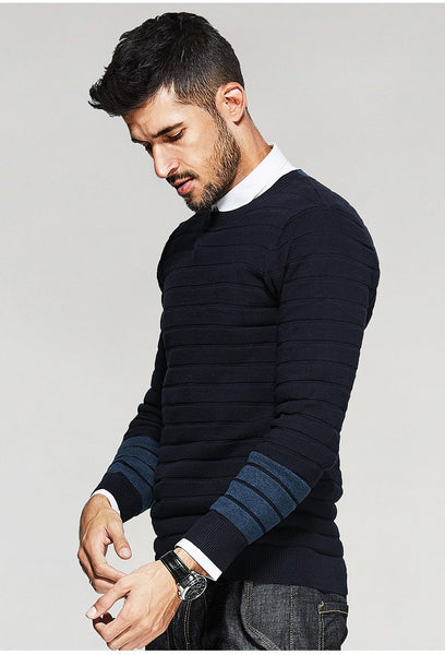New Autumn Mens Sweaters Striped Patchwork Blue Color Knitted Brand Clothing For Man's Slim Knitwear Male Pullovers 17023