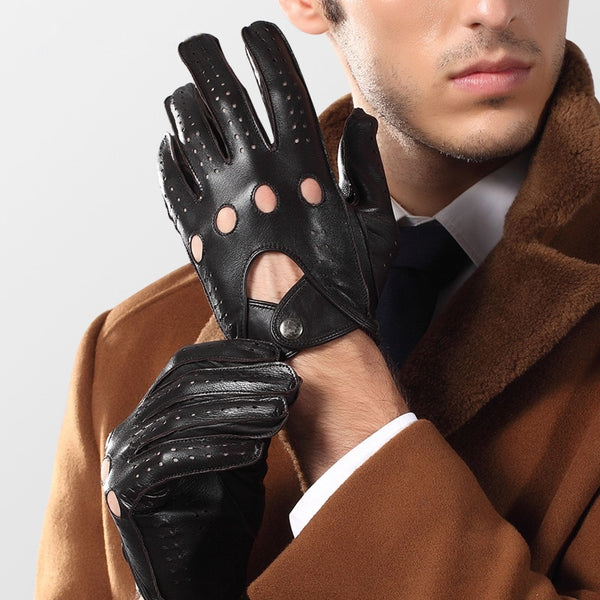 Genuine Leather Men Gloves Male Spring Autumn Thin Style Locomotive Driving Sheepskin Gloves Breathable Unlined