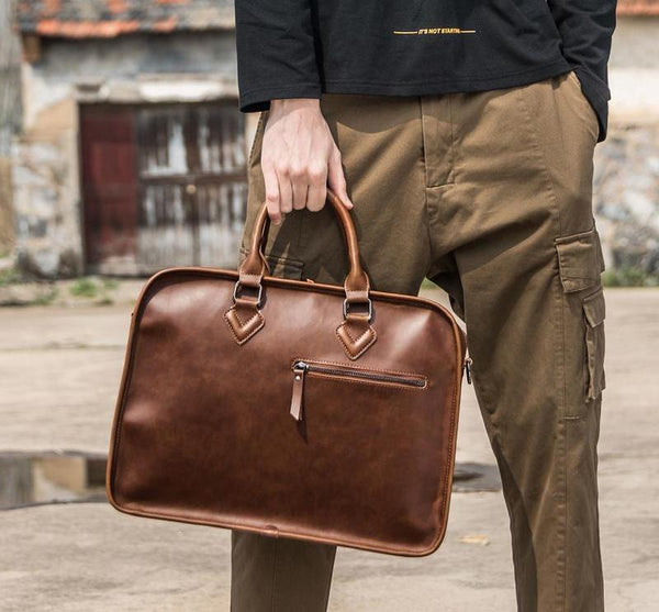 Men Briefcase Vintage 14 inch Big Business Laptop Handbag Fashion Brown Messenger Shoulder Bag Man