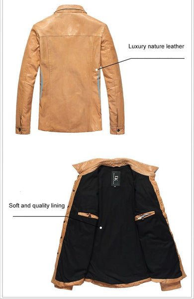 Luxury mens leather coats Genuine fashion design Slim Black/ Orange Jackets  DK102