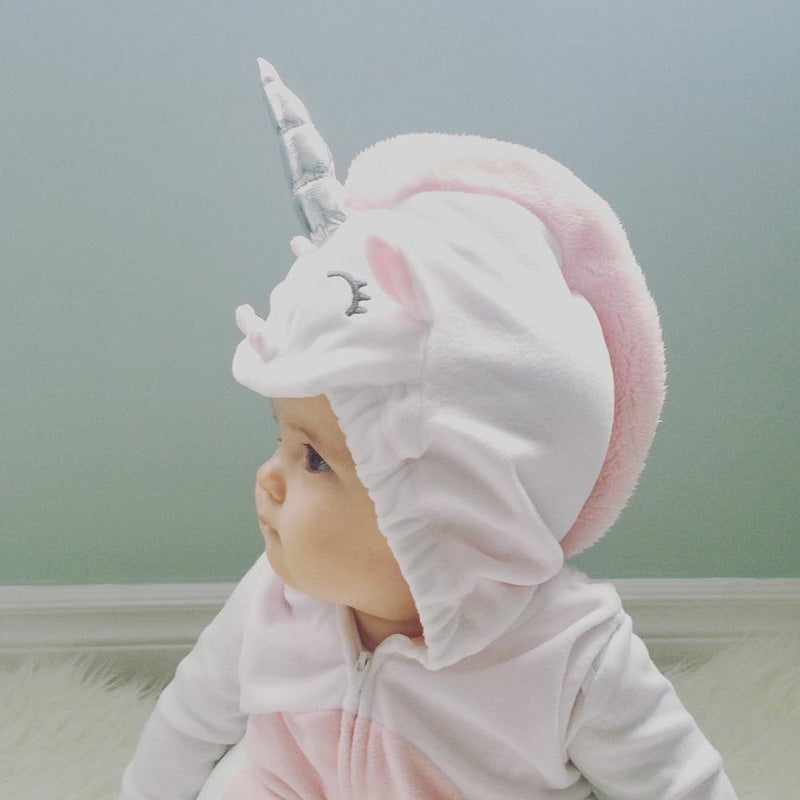 aeeaf2800 Emmababy 3D Unicorn Baby Costume Girls Romper Zipper Jumpsuit Jumper ...