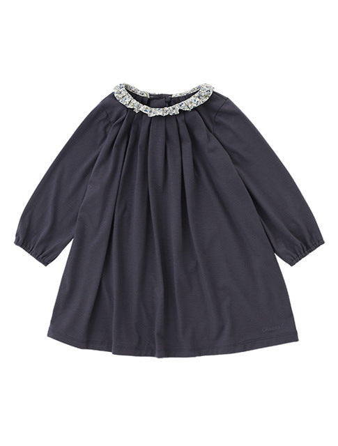 2018 New Toddler Baby Autumn Long Sleeve Korean Clothes Causal Girls Dress Floral Collar Kids Cotton Dresses Children Clothing
