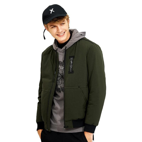 thicken warm winter jacket men brand clothing casual parkas male collarless jacket army green black AMF705301