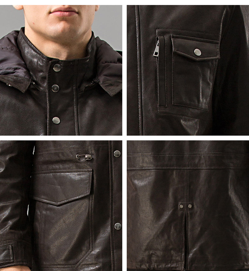 Men real leather jacket Hooded leather coat Genuine Leather jacket men's winter warm overcoat male