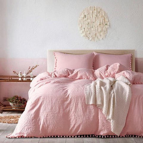 Fashion Pink Bedding Sets with Small Ball Microfiber Fabric Twin Double King Duvet Cover Pillowcase Comfortabel Home Textile