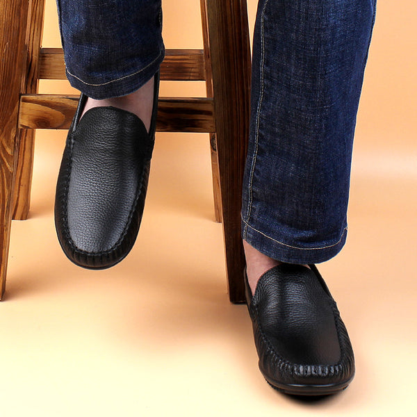 Men Leather Shoes New Handmade Moccasins Genuine Leather men Loafers Design Superstar Slip on Comfort Peas Shoes Men Flats