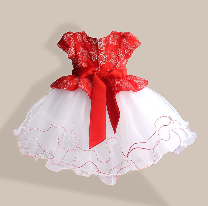 New Summer Diamond Silk Bow Girl Party Dress Wedding Birthday Girls Dresses Tutu Style Princess Clothes for children 3-8T