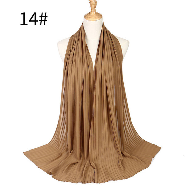 New Summer Solid Color Crinkle Chiffon Hijab Scarf Foulard Mousseline Women Pleated Muslim Scarves Accessories