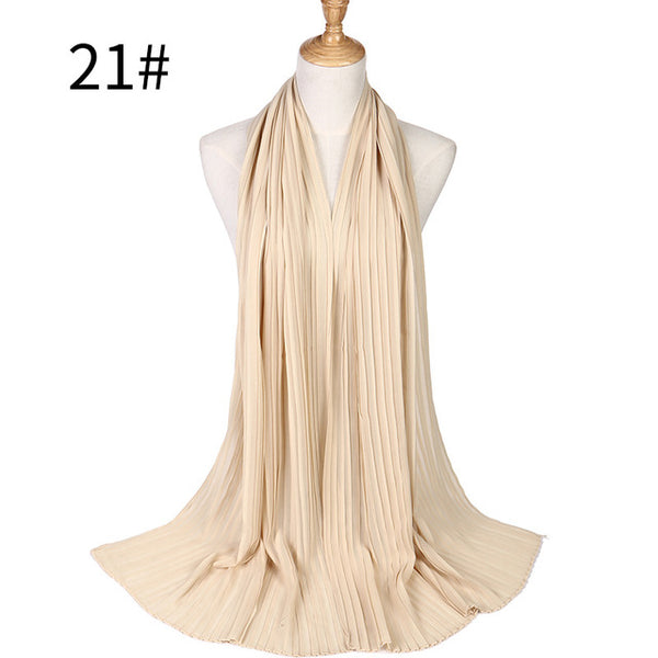 Badinka 2018 New Summer Solid Color Crinkle Chiffon Hijab Scarf Foulard Mousseline Women Pleated Muslim Scarves Accessories