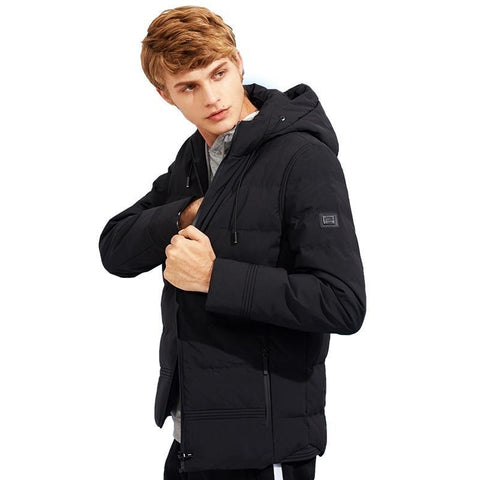 new thick winter jacket men brand clothing hooded warm coat male top quality black solid parkas jacket AMF705280