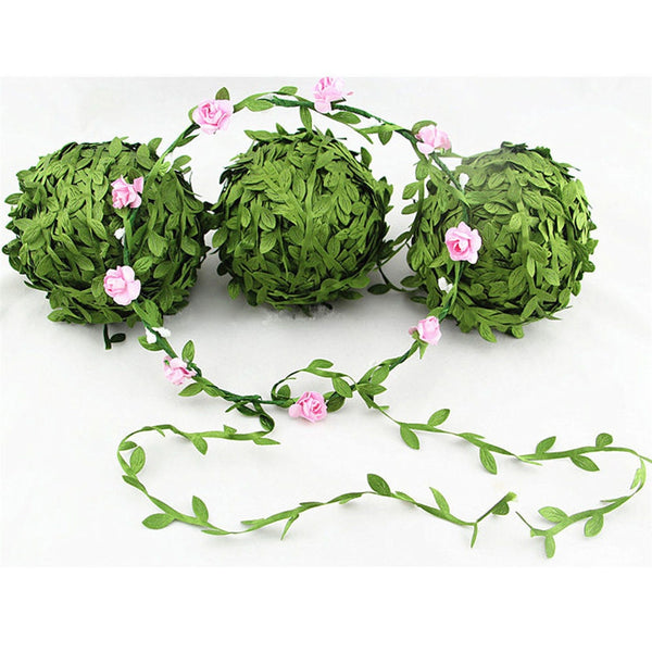 5 Meter Silk Leaf-Shaped Handmake Artificial green Leaves For Wedding Decoration DIY Wreath Gift Scrapbooking Craft Fake Flower