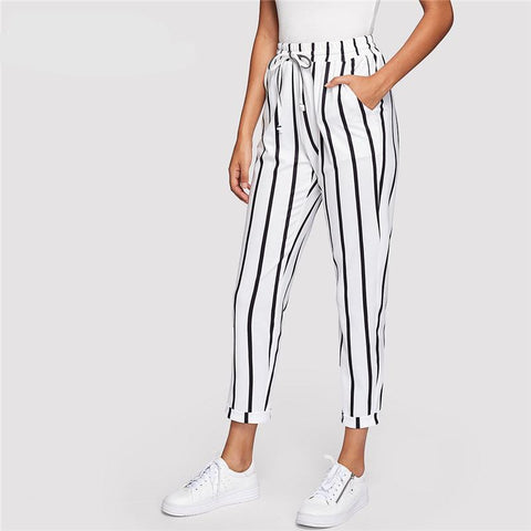 Black and White Casual Drawstring Waist Striped High Waist Tapered Carrot Pants Summer Women Going Out Trousers