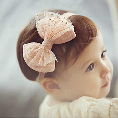 Headband Hairband Bebe Lace Hair Accessories with golden pentagram Bow Nice ornament for Kids Children Headwear