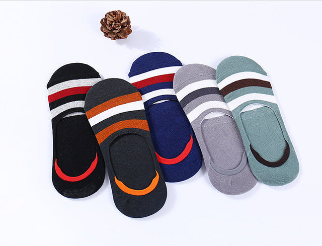 5 pairs/lot Invisible socks men's silicone non-slip spring summer cotton shallow stripe socks men Classic Boat Sock
