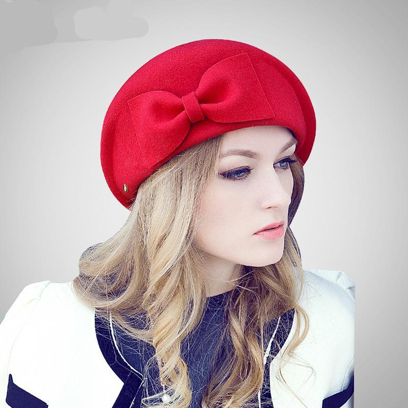 Female Cute British Australian Wool Felt Beret Hat Women French Lady Artist  Flat Cap Bow Boina ... 369e91b23142