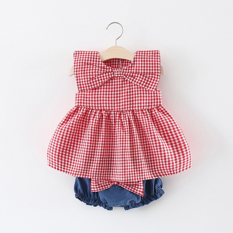 c4971d8d964be 2pcs Baby Girl Dress+PP Pants with Big Bow 2018 New Cotton Baby Girl  Clothing ...