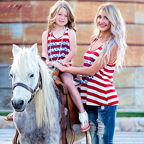 Summer Mother Daughter Matching Clothes Family Striped American Flag Shirts Baby Girl Tees Mum Mama Mom and Daughter Dress