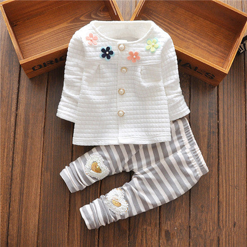 New Baby Clothes Girls Flower Suit Cardigan + Pants 2pcs / set infant jacket  Kids clothes Striped Pants free shipping