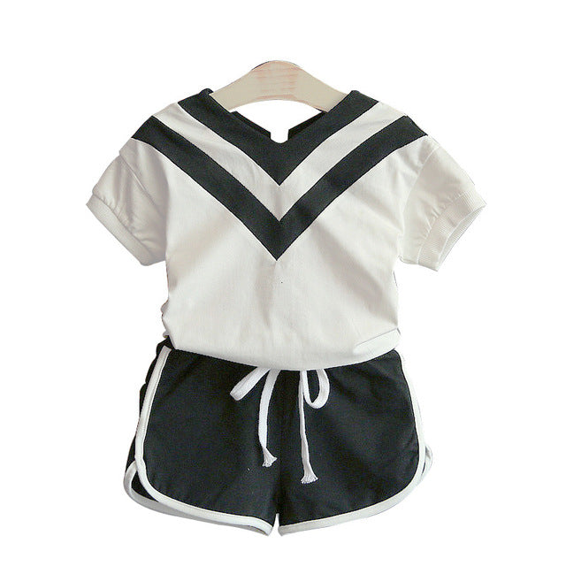 a67c80259 ... Summer Girls Sports Clothing Sets Fashion Baby girl T shirts Tops And  Shorts Suit Kids Baby
