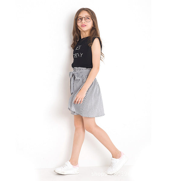 Black White Stripe Girl Clothing Summer Girl Set Two-piece Toddler Girl Clothing Tops Skirts Size 6 7 8 9 10 11 12 14 years