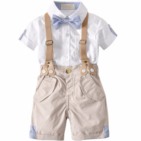 Summer Toddler Baby Boys Clothing Sets Short Sleeve Bow Tie Shirt +Suspenders Shorts Pants Formal Gentleman Suits clothes infant