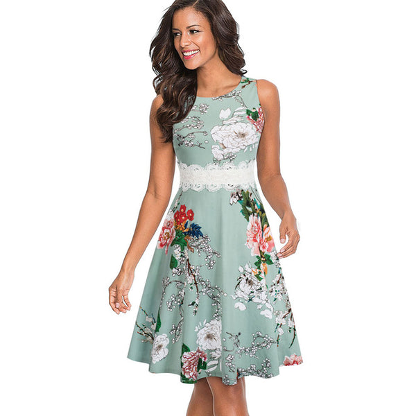 Nice-forever Vintage Elegant Embroidery Floral Lace Patchwork vestidos A-Line Pinup Business Women Party Flare Swing Dress A079