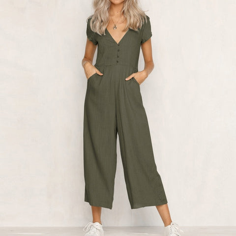 480299ecf002 Jumpsuit Summer Women Long V-Neck Short Sleeve Wide Leg Strappy Holiday  Long Playsuits Trouser
