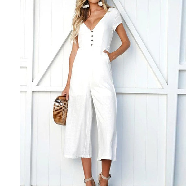 Jumpsuit Summer Women Long  V-Neck Short Sleeve Wide Leg Strappy Holiday Long Playsuits Trouser Jumpsuit 2018 Jumpsuit F#J06