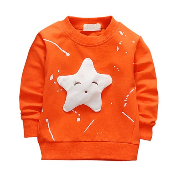 Children's Summer Autumn Cotton Long Sleeve T-shirt Star Pattern Printed  Casual Style Pullover Kids Boys Girls Clothing