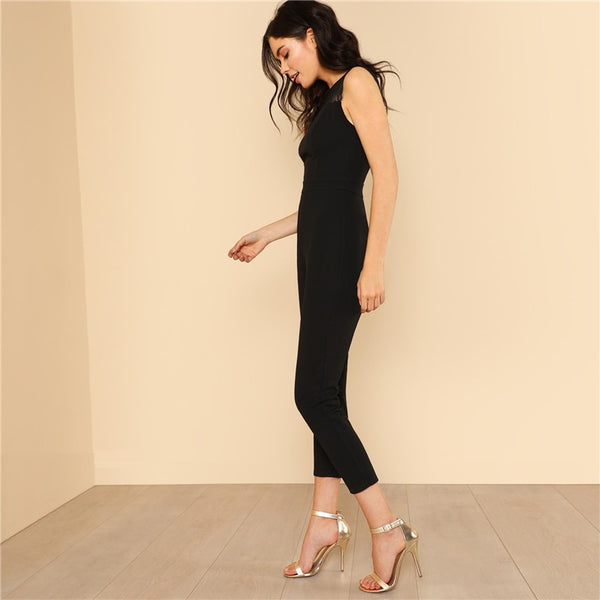 Lace Yoke Keyhole Back Skinny Jumpsuit Women Round Neck High Waist Elegant Jumpsuit Summer Zipper Sleeveless Jumpsuit