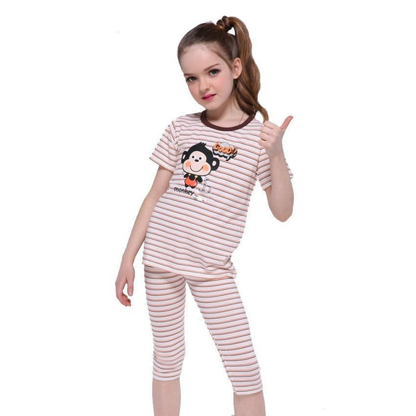 Kids Pajamas Sets For Girls Clothing Sets Striped Cartoon Boys Sleepwear Summer Children Night Outfits 4 5 7 9 11 12 Years